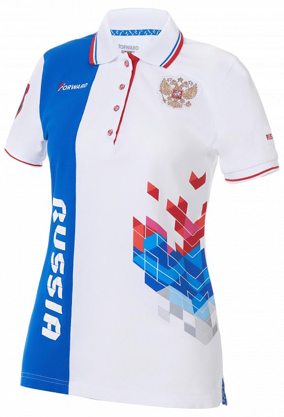 W13222G-FF172 Рубашка поло женская (белый/голубой), артикул: W13222G-FF172, цена: 2 900 руб. купить в интернет магазине Forward